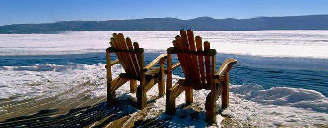 detail-adirondack-chair-on-lake-winter - Blue Mountain Rest
